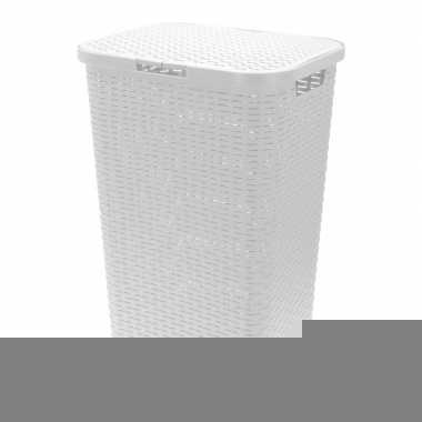 Witte gevlochten wasmand 62 cm prijs