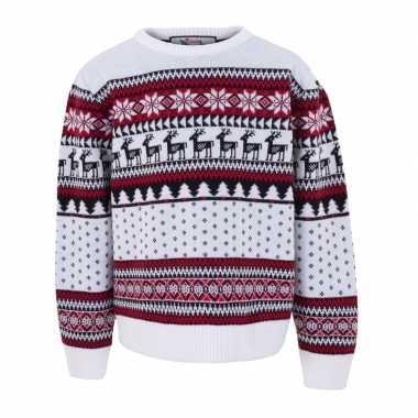 Witte kersttrui voor kinderen nordic print prijs