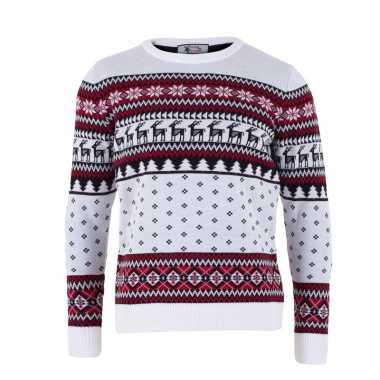 Witte kersttrui voor volwassenen nordic print prijs