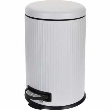 Witte prullenbak gestreept 20 liter prijs