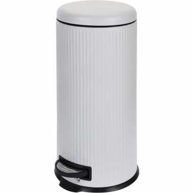 Witte prullenbak gestreept 30 liter prijs