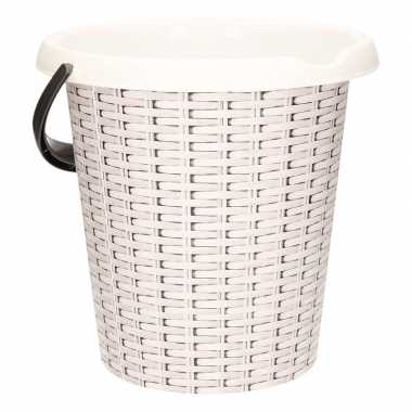 Witte schoonmaakemmer met rotanprint 12 liter prijs