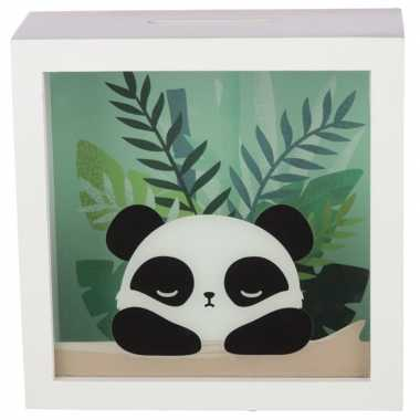 Witte spaarpot met raam pandabeer 18x18 cm prijs