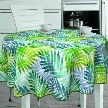 Witte tafelkleden/tafelzeilen tropische palm blaadjes print 160 cm ro