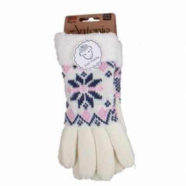 Witte winterhandschoenen nordic voor dames prijs