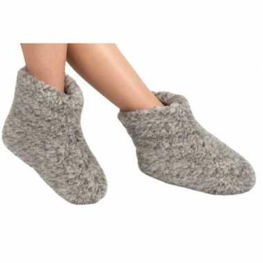 Wollen slofjes/pantoffeltjes grijs prijs