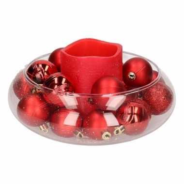 Woondecoratie vaas met rode waskaars en kerstballen 10 cm prijs