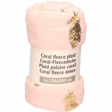 Zalm roze warme fleece deken/plaid met gouden blad 150 x 200 cm prijs