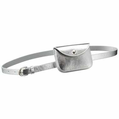 Zilver mini heuptasje aan riem voor dames prijs