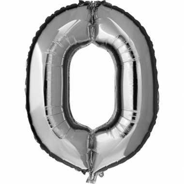 Zilveren ballon cijfer 0 nul prijs