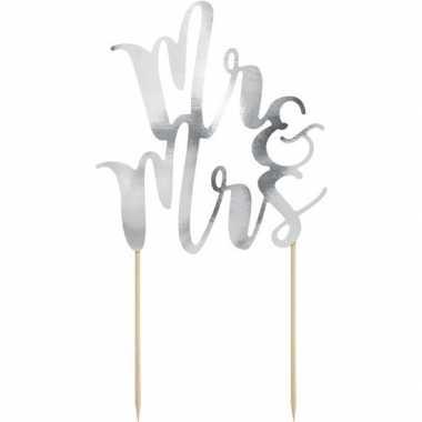 Zilveren bruidstaart taarttopper mr & mrs 25 cm prijs