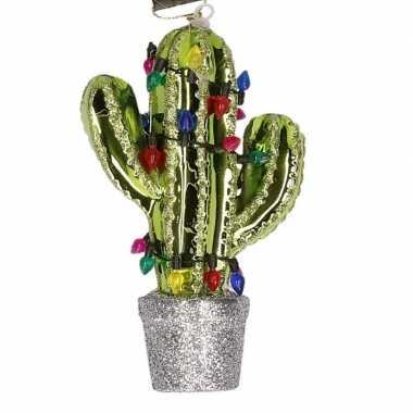 Zilveren cactus kerstornamenten kersthangers 12,5 cm prijs