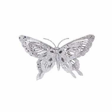 Zilveren deco vlinder met glitters 15 x 11 cm prijs