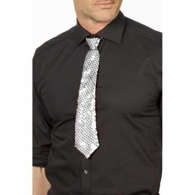 Zilveren glitter verkleed stropdassen 32 cm voor dames/heren prijs