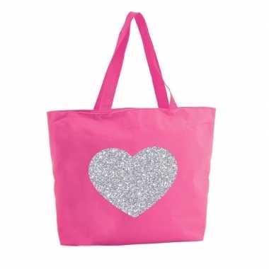Zilveren hart glitter boodschappentas / strandtas fuchsia roze 47 cm
