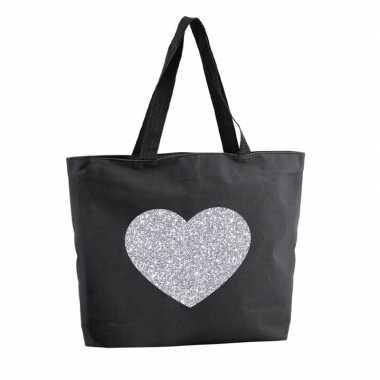 Zilveren hart glitter boodschappentas / strandtas zwart 47 cm prijs