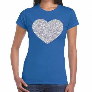 Zilveren hart glitter fun t-shirt blauw voor dames prijs
