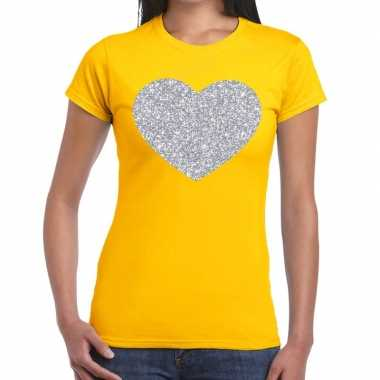 Zilveren hart glitter fun t-shirt geel voor dames prijs