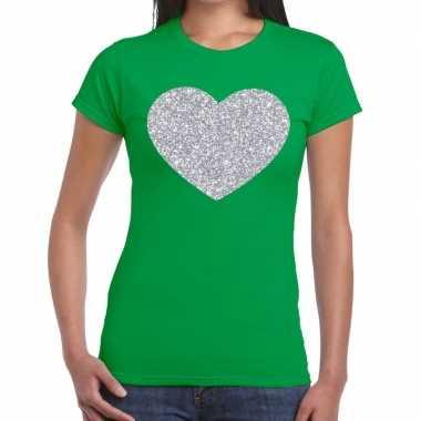 Zilveren hart glitter fun t-shirt groen voor dames prijs