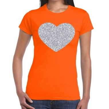 Zilveren hart glitter fun t-shirt oranje voor dames prijs