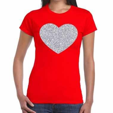 Zilveren hart glitter fun t-shirt rood voor dames prijs