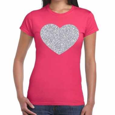 Zilveren hart glitter fun t-shirt roze voor dames prijs
