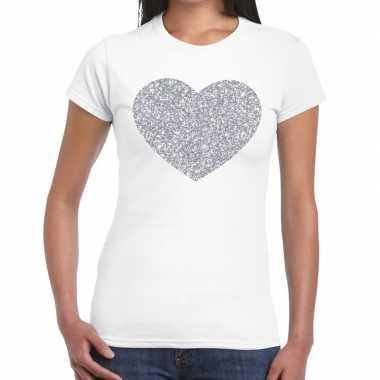 Zilveren hart glitter fun t-shirt wit voor dames prijs
