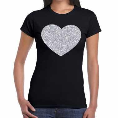 Zilveren hart glitter fun t-shirt zwart voor dames prijs