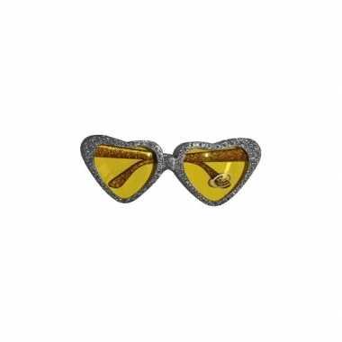 Zilveren party bril hartvormig met gouden glazen prijs