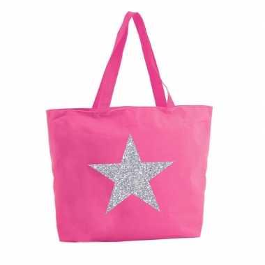 Zilveren ster glitter boodschappentas / strandtas fuchsia roze 47 cm