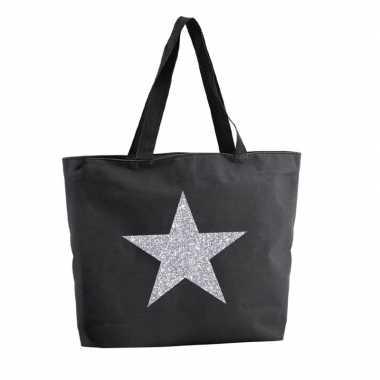 Zilveren ster glitter boodschappentas / strandtas zwart 47 cm prijs