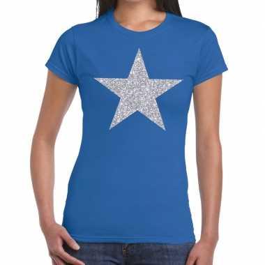Zilveren ster glitter fun t-shirt blauw voor dames prijs