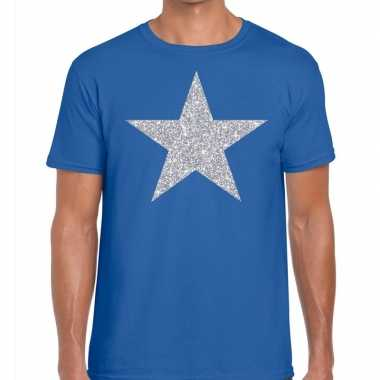 Zilveren ster glitter fun t-shirt blauw voor heren prijs
