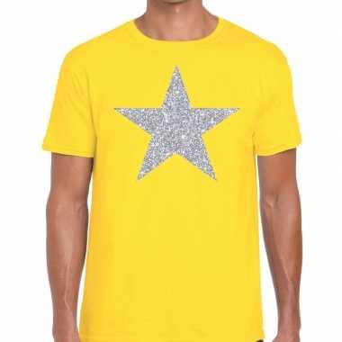 Zilveren ster glitter fun t-shirt geel voor heren prijs