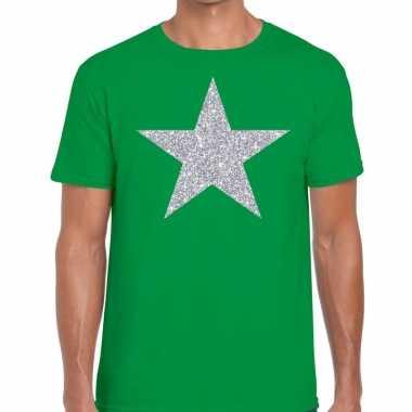 Zilveren ster glitter fun t-shirt groen voor heren prijs