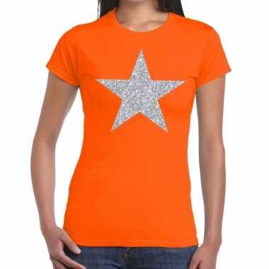 Zilveren ster glitter fun t-shirt oranje voor dames prijs