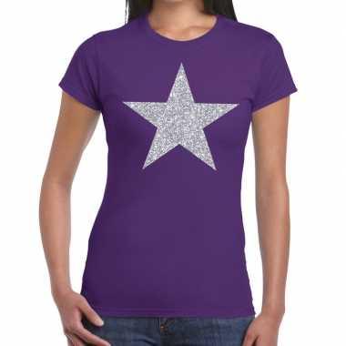 Zilveren ster glitter fun t-shirt paars voor dames prijs