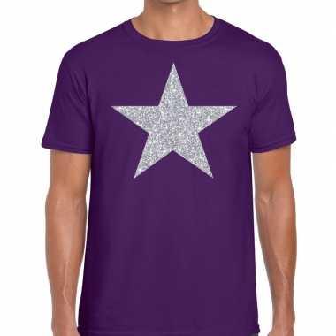 Zilveren ster glitter fun t-shirt paars voor heren prijs