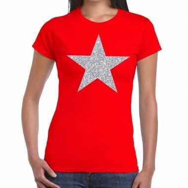 Zilveren ster glitter fun t-shirt rood voor dames prijs