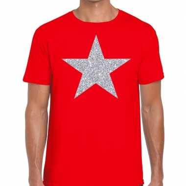 Zilveren ster glitter fun t-shirt rood voor heren prijs