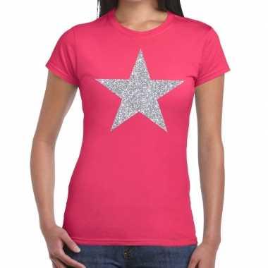 Zilveren ster glitter fun t-shirt roze voor dames prijs