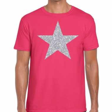 Zilveren ster glitter fun t-shirt roze voor heren prijs
