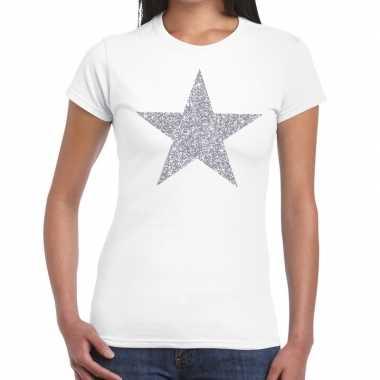 Zilveren ster glitter fun t-shirt wit voor dames prijs