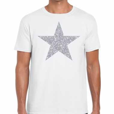 Zilveren ster glitter fun t-shirt wit voor heren prijs