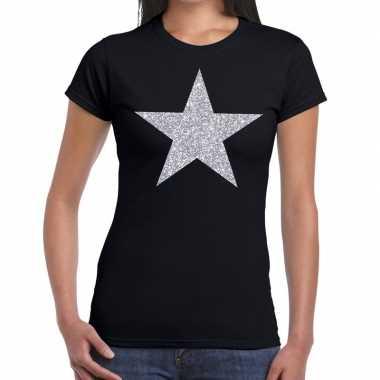 Zilveren ster glitter fun t-shirt zwart voor dames prijs