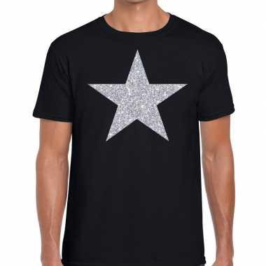 Zilveren ster glitter fun t-shirt zwart voor heren prijs