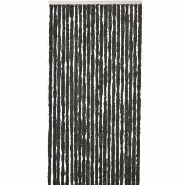 Zwart anti insecten kattenstaarten gordijn 90 x 220 cm prijs