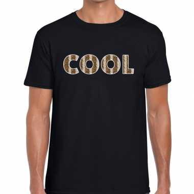 Zwart cool slangenprint fun t-shirt voor heren prijs