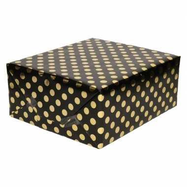 Zwart folie geschenkpapier gouden stip 200 x 70 cm prijs