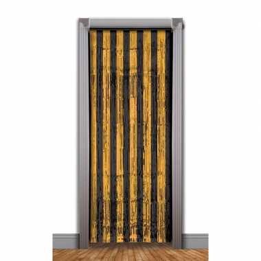 Zwart met oranje deurgordijn folie 240 cm prijs
